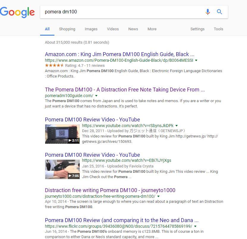 Pomera DM100 Top Google Search